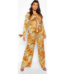plus. setje van tijgertop met striksluiting aan de voorkant en broek, oranje