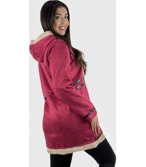 abrigo mujer gamuza y chiporro rojo enigmática boutique