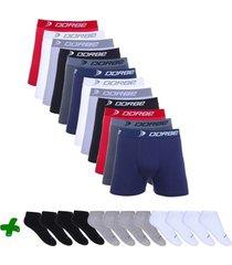 kit cuecas boxer + pares de meia soquete dorbe - masculino