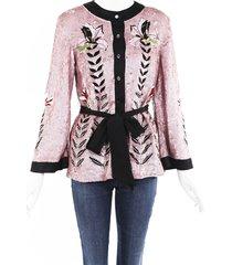 temperley london magnolia pink sequin jacket black/pink/floral print sz: m