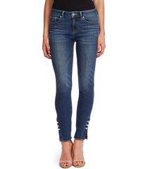 women's cece faux pearl detail skinny jeans, size 32 - blue
