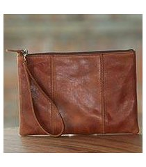 leather wristlet, 'chestnut tranquility' (indonesia)