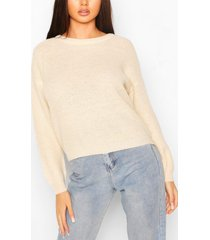 loose rib knit sweater, stone
