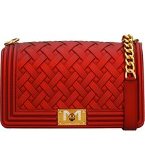 marc ellis flat m braid shoulder bag in red pvc