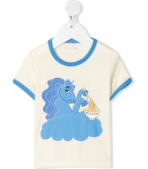 mini rodini unicorn noodles print ringer t-shirt - neutrals