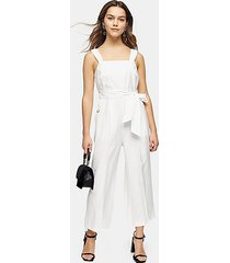 petite ivory belted pinafore jumpsuit - ivory