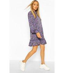 gesmokte bloemenprint jurk met hoge hals, blue