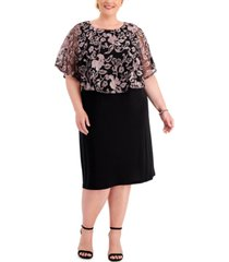 connected plus size embroidered-cape dress