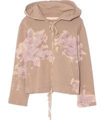 crop hoodie in lilac tie dye