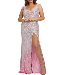 plus size women's mac duggal ombre sequin prom dress with train