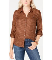 tommy hilfiger plaid roll-tab-sleeve top