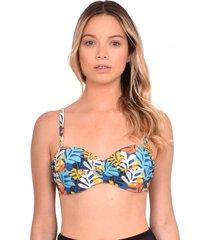 bikini estilo sostén strapless estampado amarillo samia