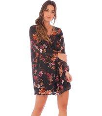 vestido negro de flores x49503