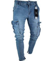 hombres casual ripped multi pocket streetwear skinny jeans