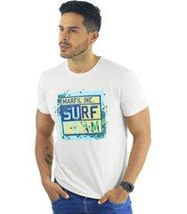 camiseta hombre manga corta slim fit blanco marfil surf