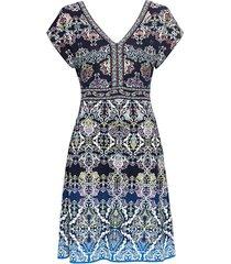 jacquard-gebreide jurk van bio-katoen met dubbele v-hals, nachtblauw-motief 38