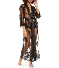women's rya collection darling sheer lace robe, size x-small/small - black