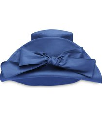 miu miu bow-embellished oversized hat - blue