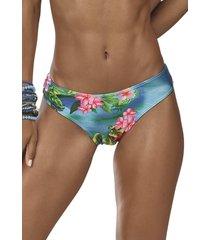 calça de praia floral demillus 12139 azul capri - kanui