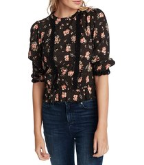 women's 1.state festival rose lace inset blouse, size x-small - black