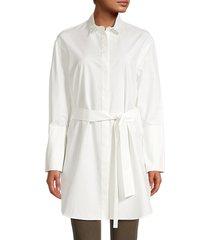 akris punto women's belted cotton & silk-blend poplin tunic shirt - jasmine - size 10