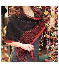 cotton and silk shawl, 'madhya pradesh night' (india)