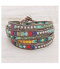glass beaded wrap bracelet, 'fields of celebration' (guatemala)