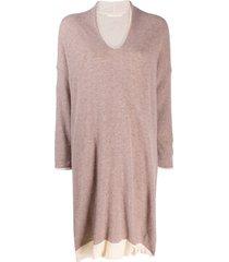 elsa esturgie draped v-neck jumper dress - pink