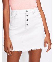 loft petite frayed button front denim skirt in white