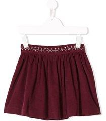 knot corduroy flared skirt