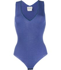 forte forte metallized knitted bodysuit - blue