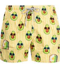 mc2 saint barth avocado print swim shorts - yellow