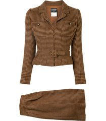 chanel pre-owned 1996s tweed set up suit jacket skirt - brown