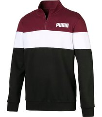 fleece sweater met halve rits voor heren, wit/zwart/rood, maat m   puma