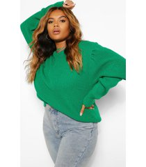 plus puff sleeve high neck sweater, bright green