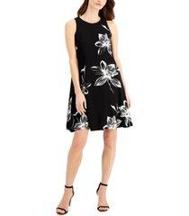 anne klein printed a-line dress