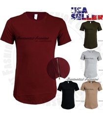 mens extended long t shirts crew neck hip hop elongated short sleeves tee zipper