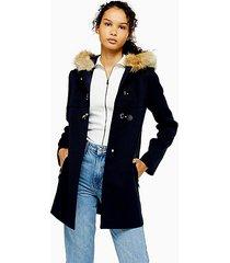 navy faux fur hooded coat - navy blue