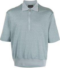 emporio armani micro-pattern zipped polo shirt - blue