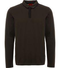 hugo dark green dalander long sleeve polo shirt 50395363-301