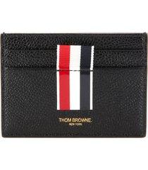 thom browne women's intarsia stripe single card holder - black