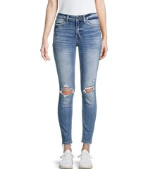 flying monkey women's mid-rise distressed skinny jeans - blue - size 29 (6-8)