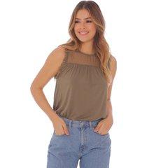 camiseta manga sisa con detalles en tul para mujer x49495