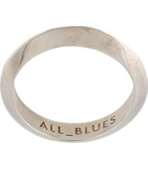 all blues sculpted triangle ring - silver