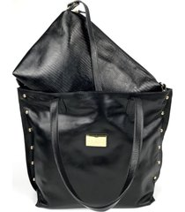 bolsa de couro hamish sacola preta com bolsa tiracolo hb523