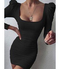mini fruncido sexy cuello cuadrado vestido