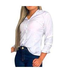 camisete feminino social nstore manga longa moda verão branco