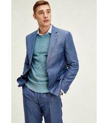 tommy hilfiger men's regular fit linen and wool suit blue heather - 44