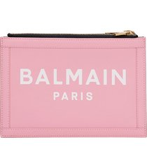 balmain three pouches clutch in rose-pink leather