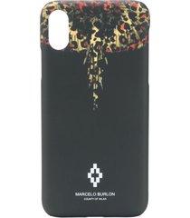 marcelo burlon county of milan wings leopard iphone x case - black